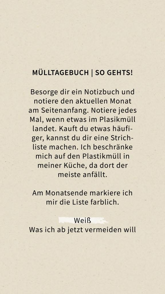 Plastikmüll Tagebuch Anleitung