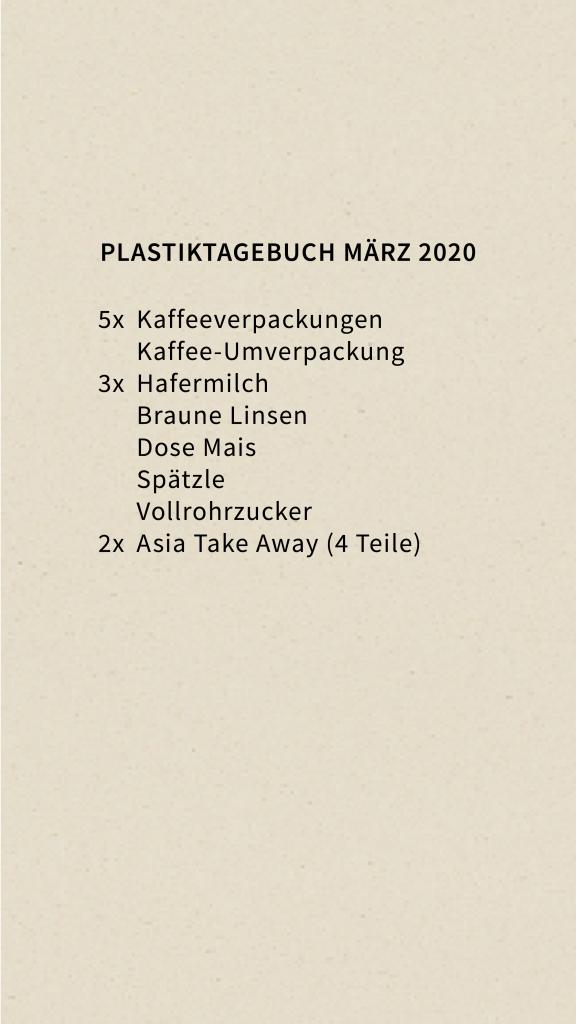 Plastik Müll Tagebuch März 2020 Markierungen
